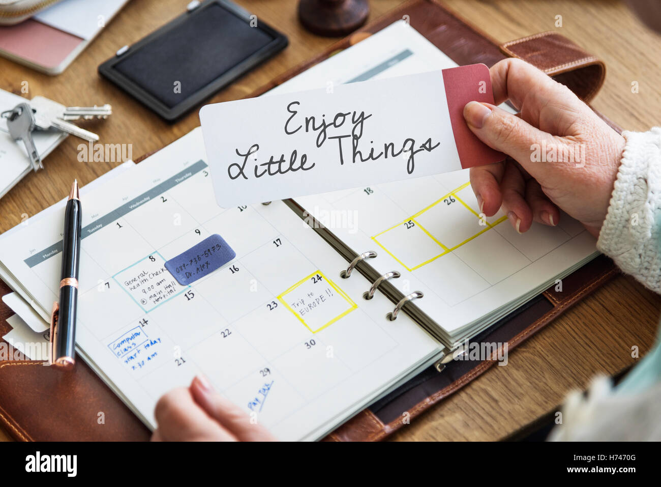 Enjoy Little Things Positive Concept - Stock Image
