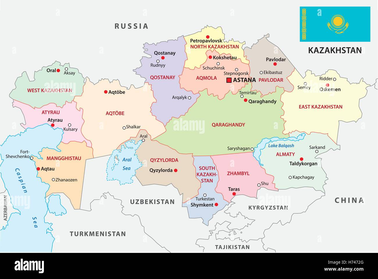 kazakhstan administrative map with flag - Stock Image