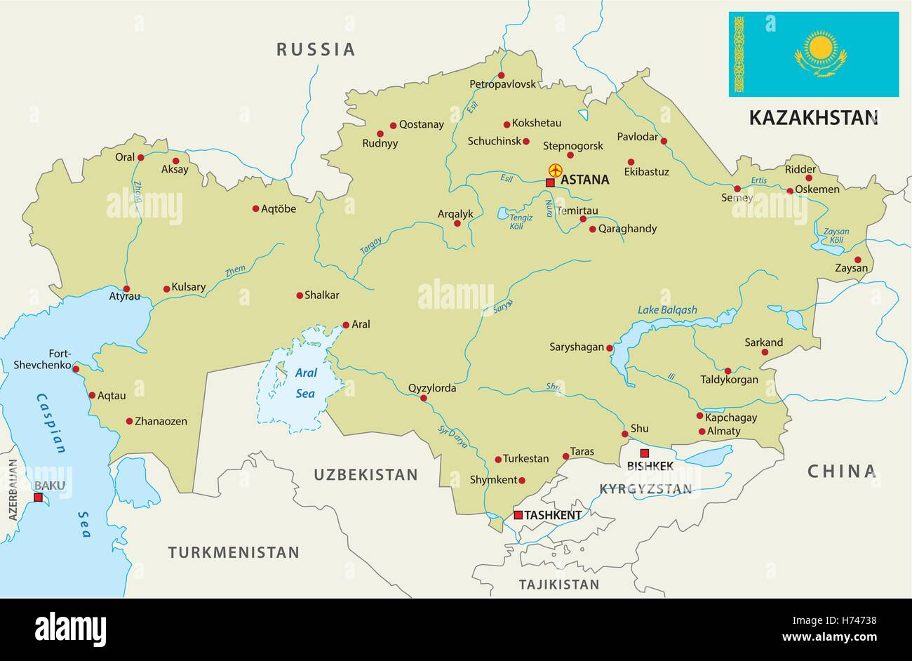 kazakhstan map with flag - Stock Image
