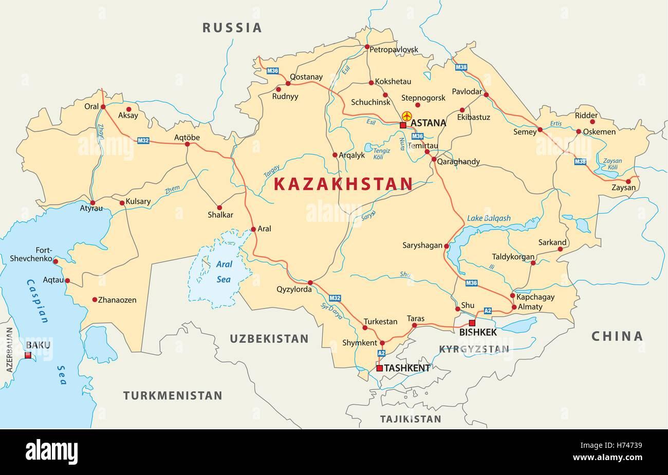 kazakhstan road map - Stock Vector