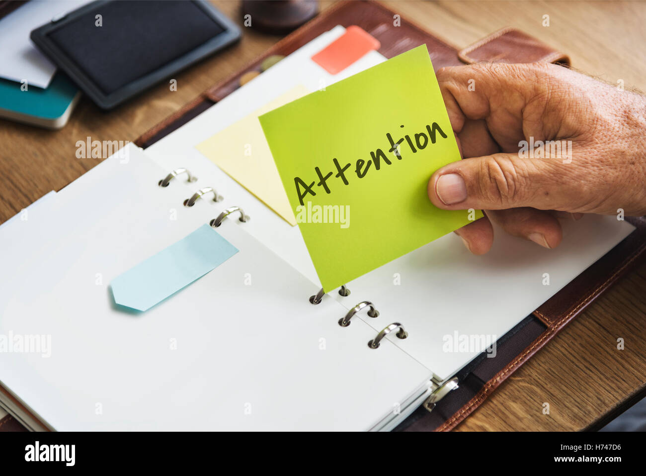 Attention Urgent Planner Agenda Concept Stock Photo