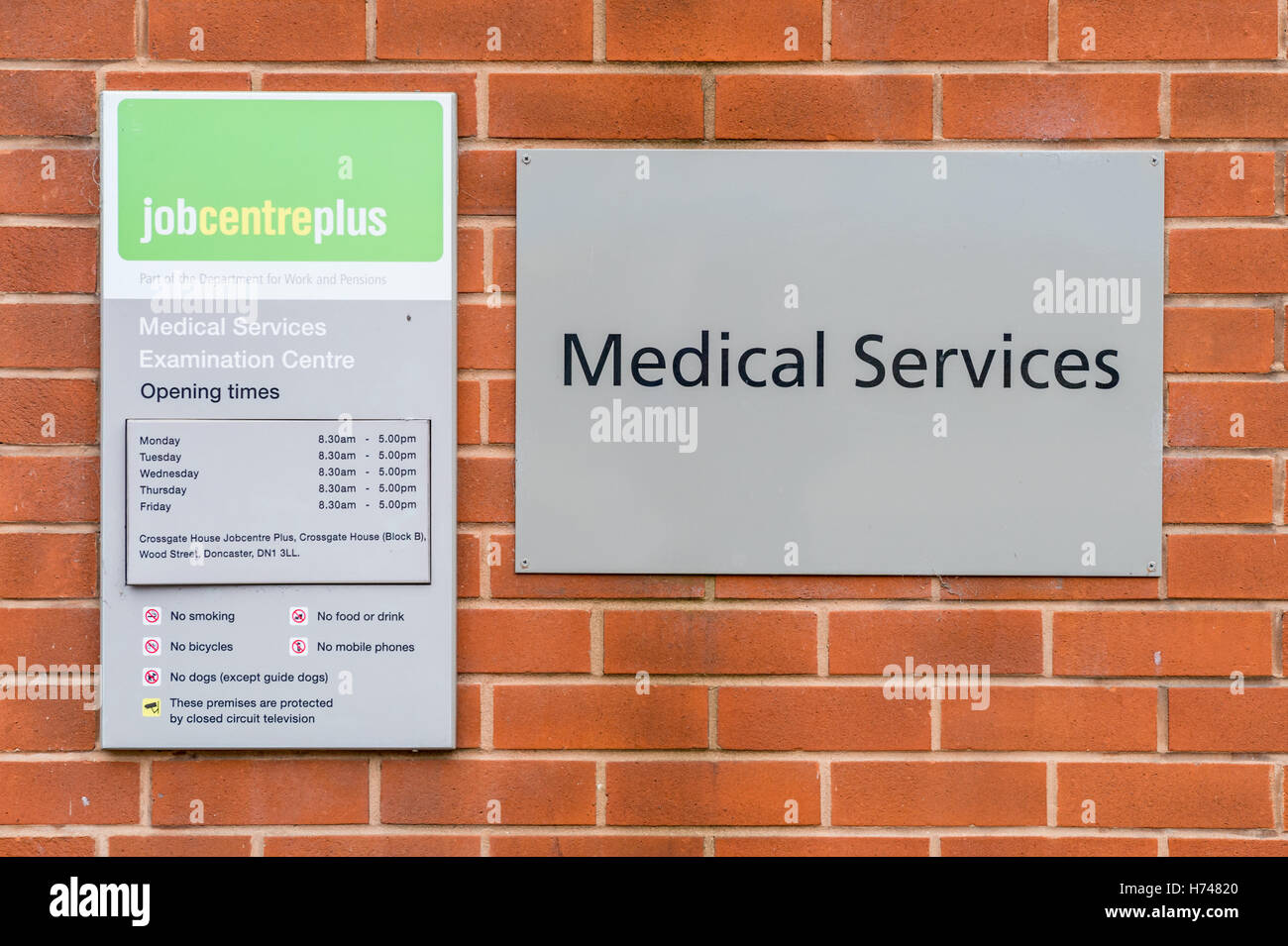 Medical Services Examination Centre at a Job Centre Plus Office, Doncaster - Stock Image