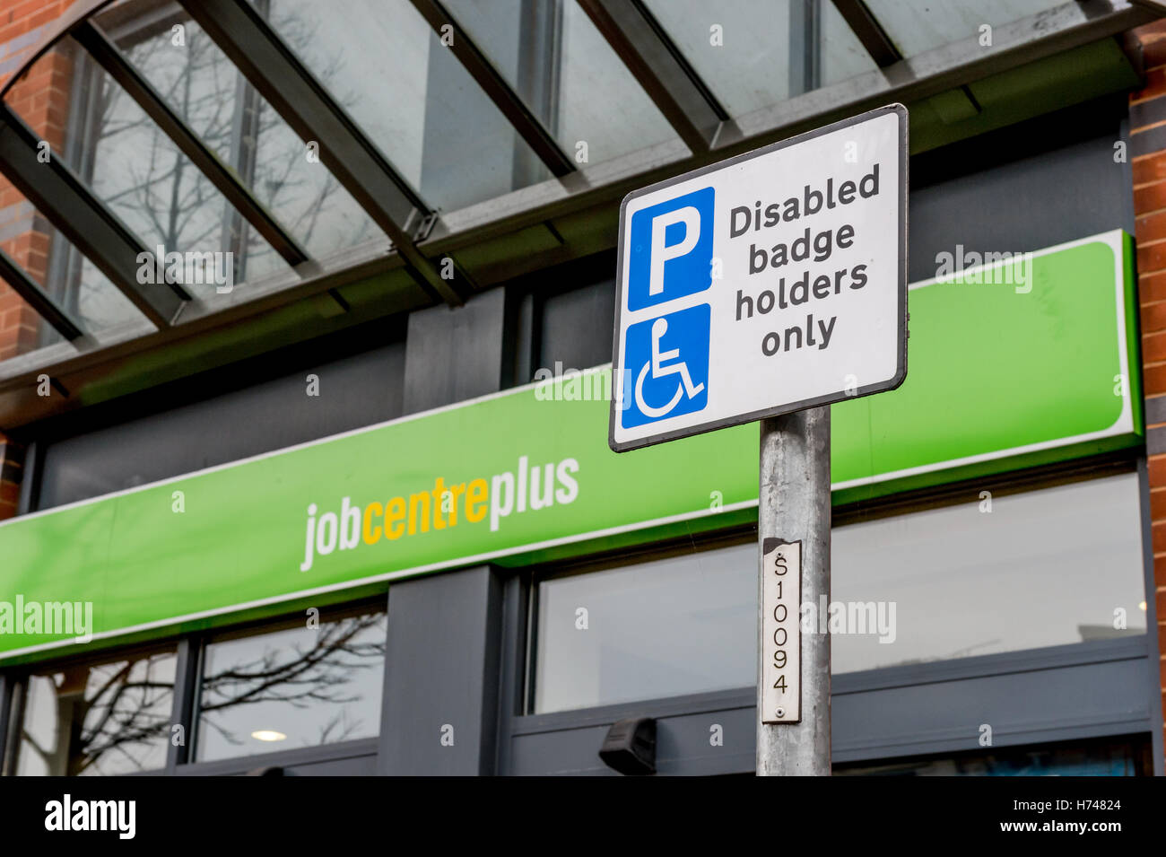 Disabled badge holder sign in front of Job Centre Plus Office, Doncaster - Stock Image