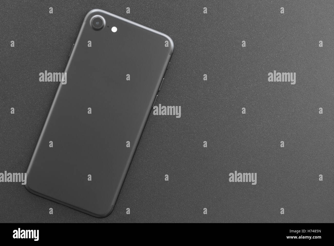phone matte black color backside on top view - Stock Image