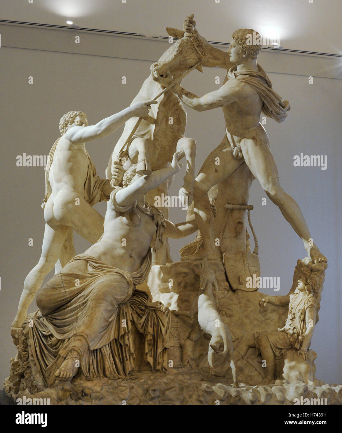 The Farnese Bull. Roman copy (3rd century AD) of a Hellenistic sculpture. Myth of Dirce. She was tied to a wild - Stock Image