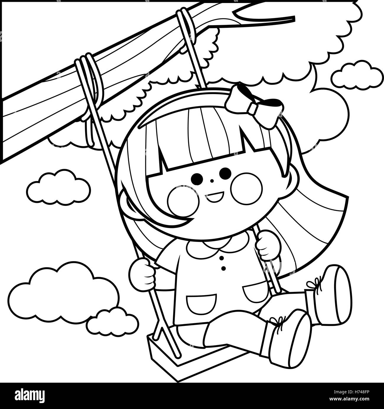 Girl Playing On A Tree Swing Coloring Book Page