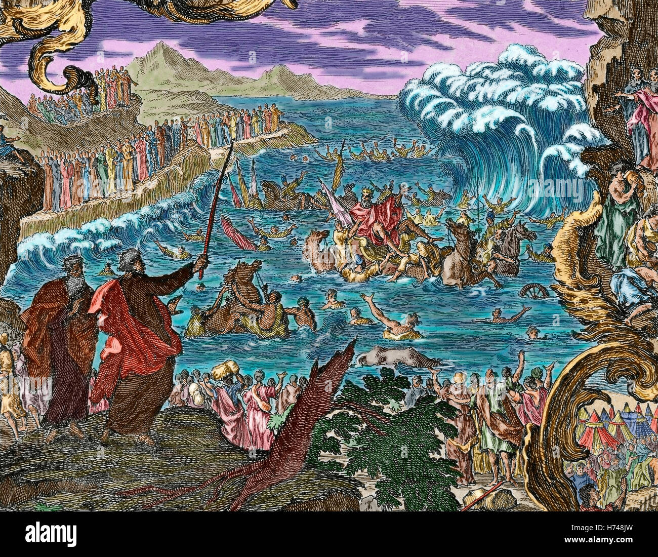 Parting of the waters of the Red Sea. Book of Exodus. Chapter 15, verse 1. Engraving. Colored. - Stock Image