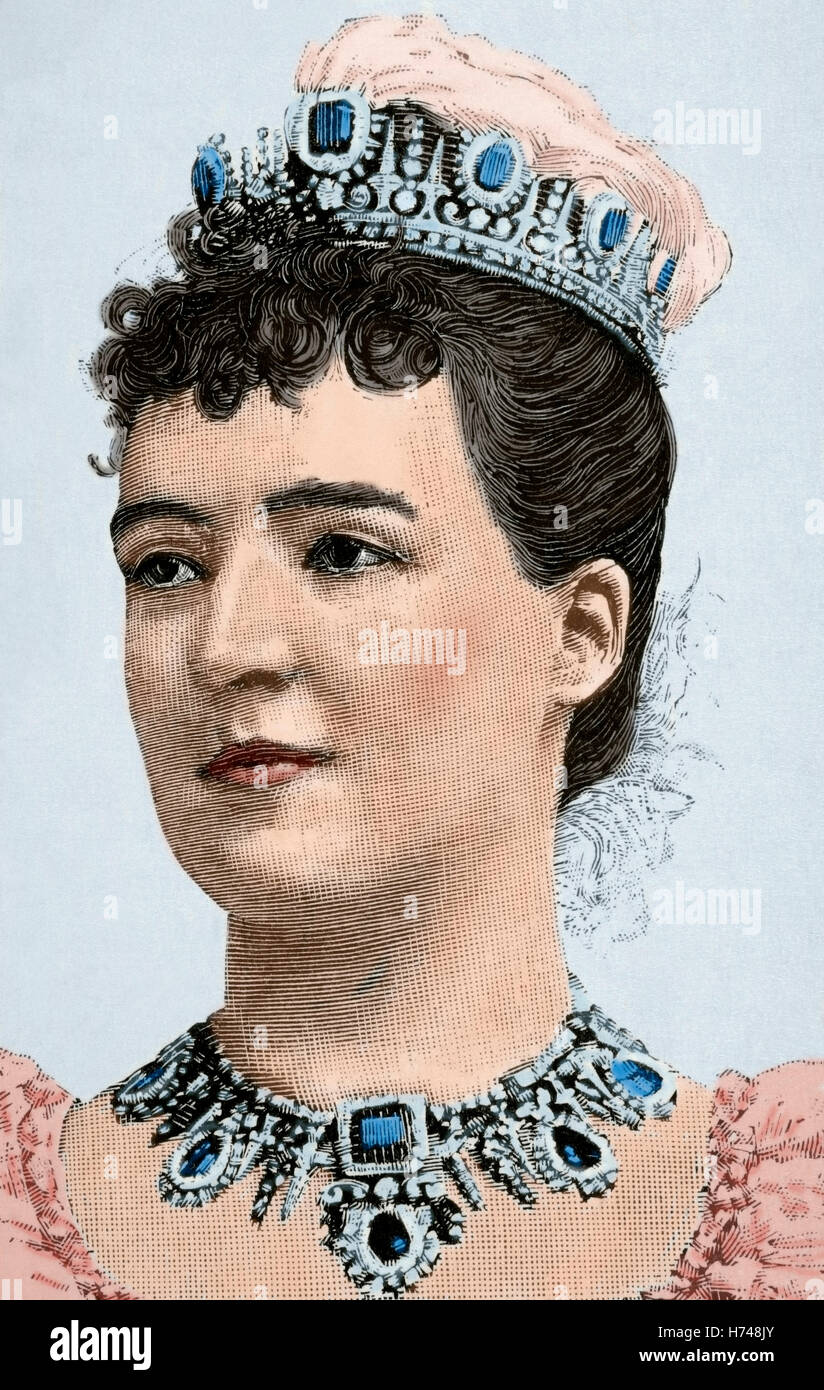 Amelie of Orleans (1865-1951). Queen consort of Portugal. Engraving. 19th century. Colored. - Stock Image