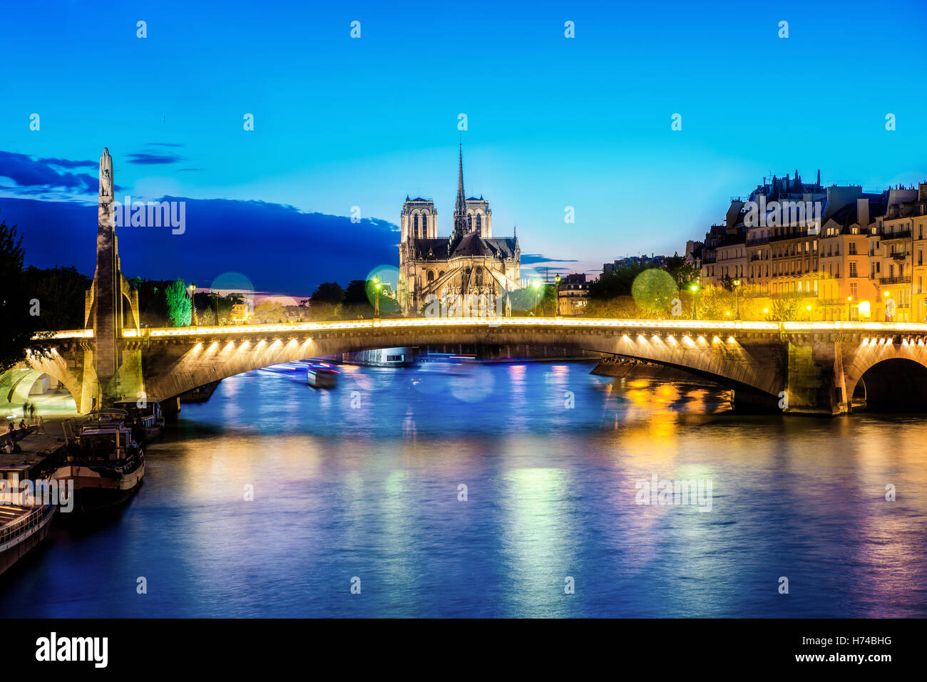 Notre dame de Paris at night and the seine river France in the city of Paris in France - Stock Image