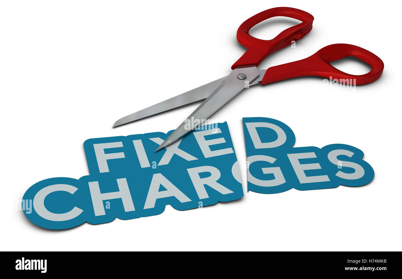 cost cut reduction charges reduce saving fixed cutting costs charge company reducing cutting down - Stock Image