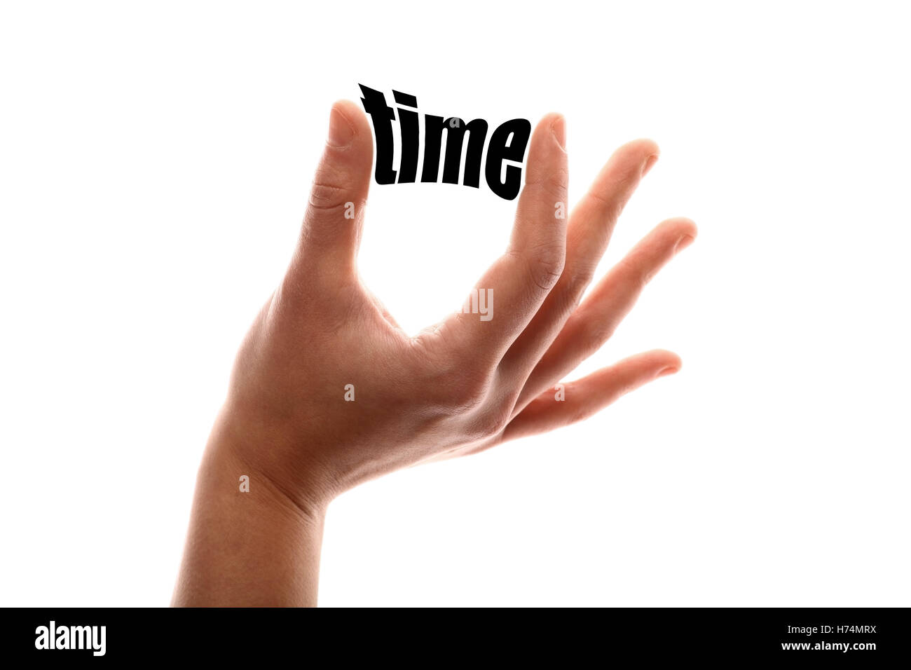finger measured sured measure date time time indication hours horizontal word illustration past idea perspective - Stock Image