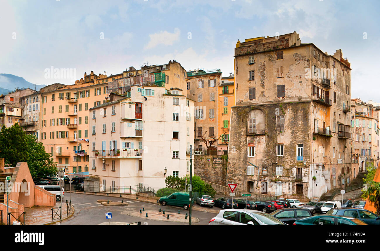 The typical for Bastia cityscape with the slums in the old neighborhood, Corsica, France. - Stock Image