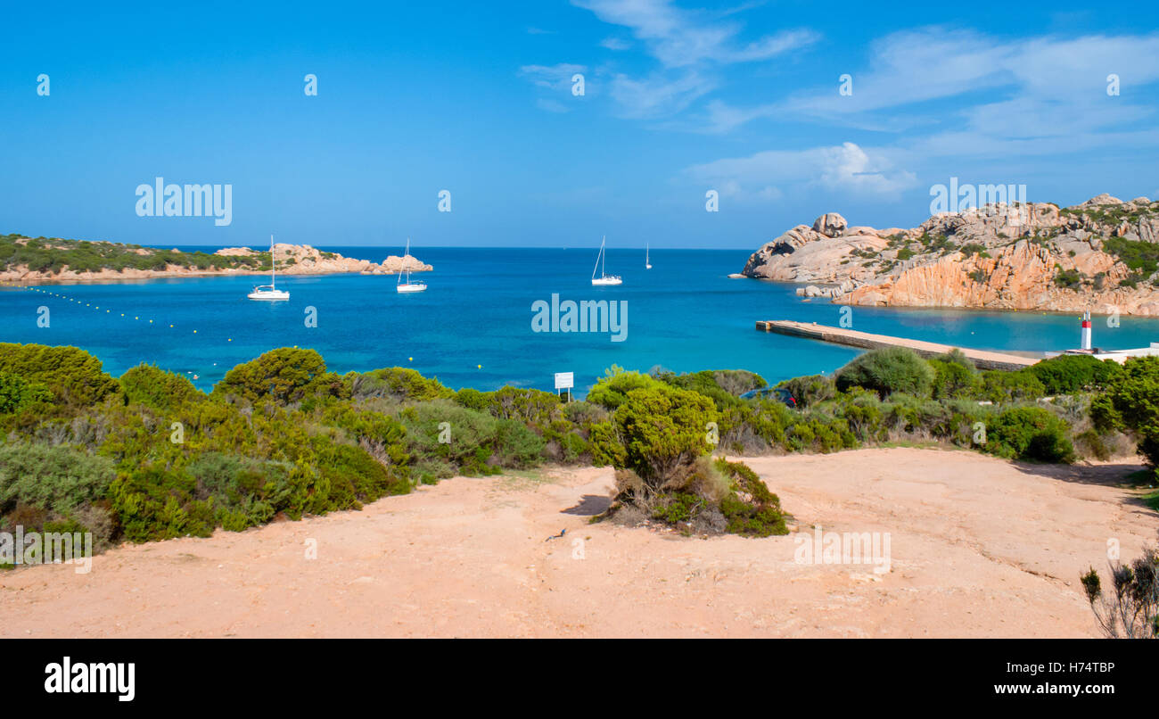 beautiful harbour and pink granites of maddalena archipelago, sardinia, italy - Stock Image