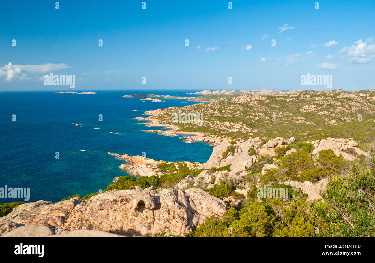 landscape on maddalena archipelago contains of different granites and sparse vegetation - Stock Image