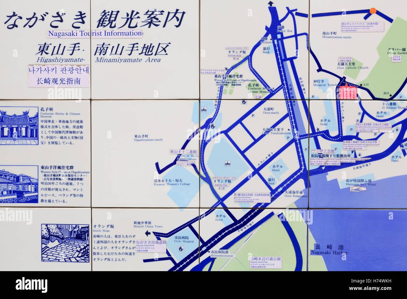 Map, Nagasaki, Kyushu Island, Japan, Asia - Stock Image