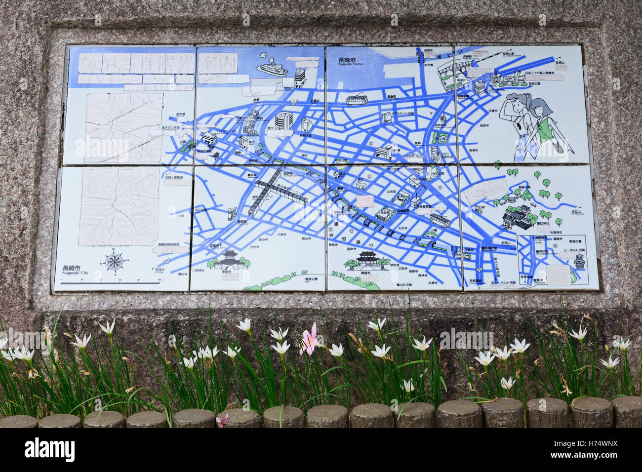Tourist map, Nagasaki, Kyushu Island, Japan, Asia - Stock Image