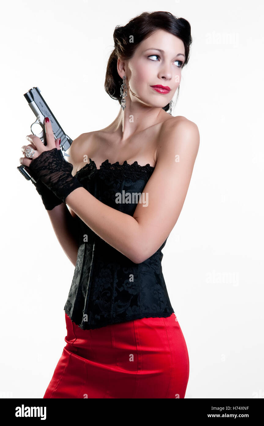 1930's Gangster Girl with Gun - Stock Image