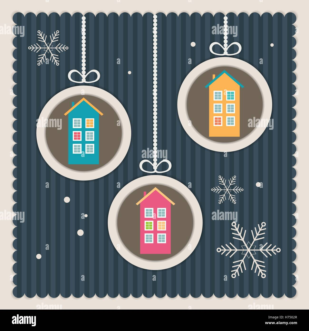 Real estate christmas card colorful stock photos real estate real estate christmas card with colorful houses and snowflakes stock image m4hsunfo