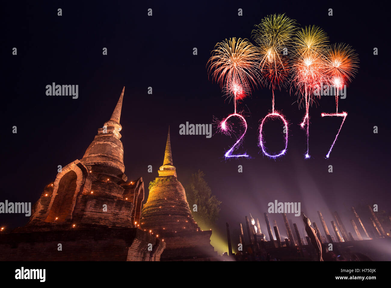 2017 happy new year fireworks celebrating over sukhothai historical park thailand