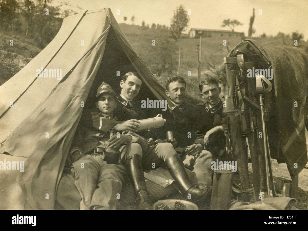 Officers of the Royal Italian Army cavalry in a tent - Stock Image
