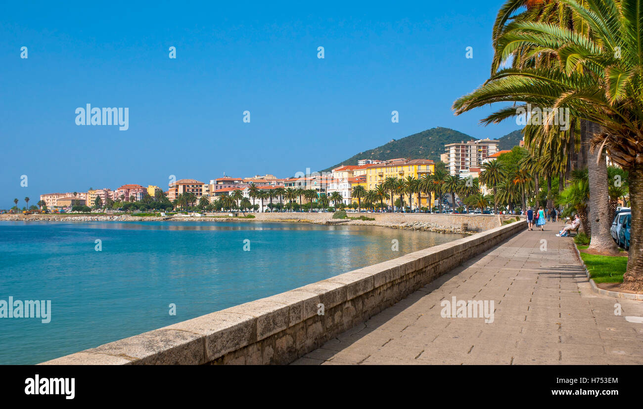 Boulevard Pascal Rossini is the favorite place for tourist walks between the sunbathing and shopping, Ajaccio, Corsica, - Stock Image