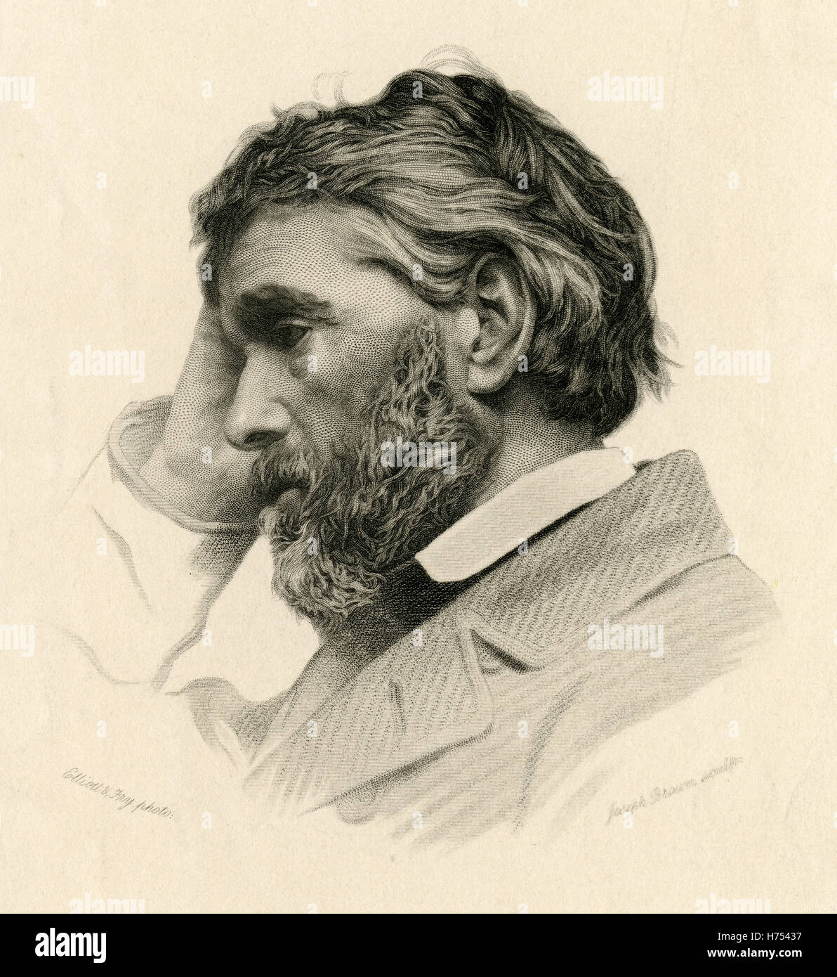 Antique c1865 steel engraving of Thomas Carlyle. Thomas Carlyle (1795-1881) was a Scottish philosopher, satirical - Stock Image
