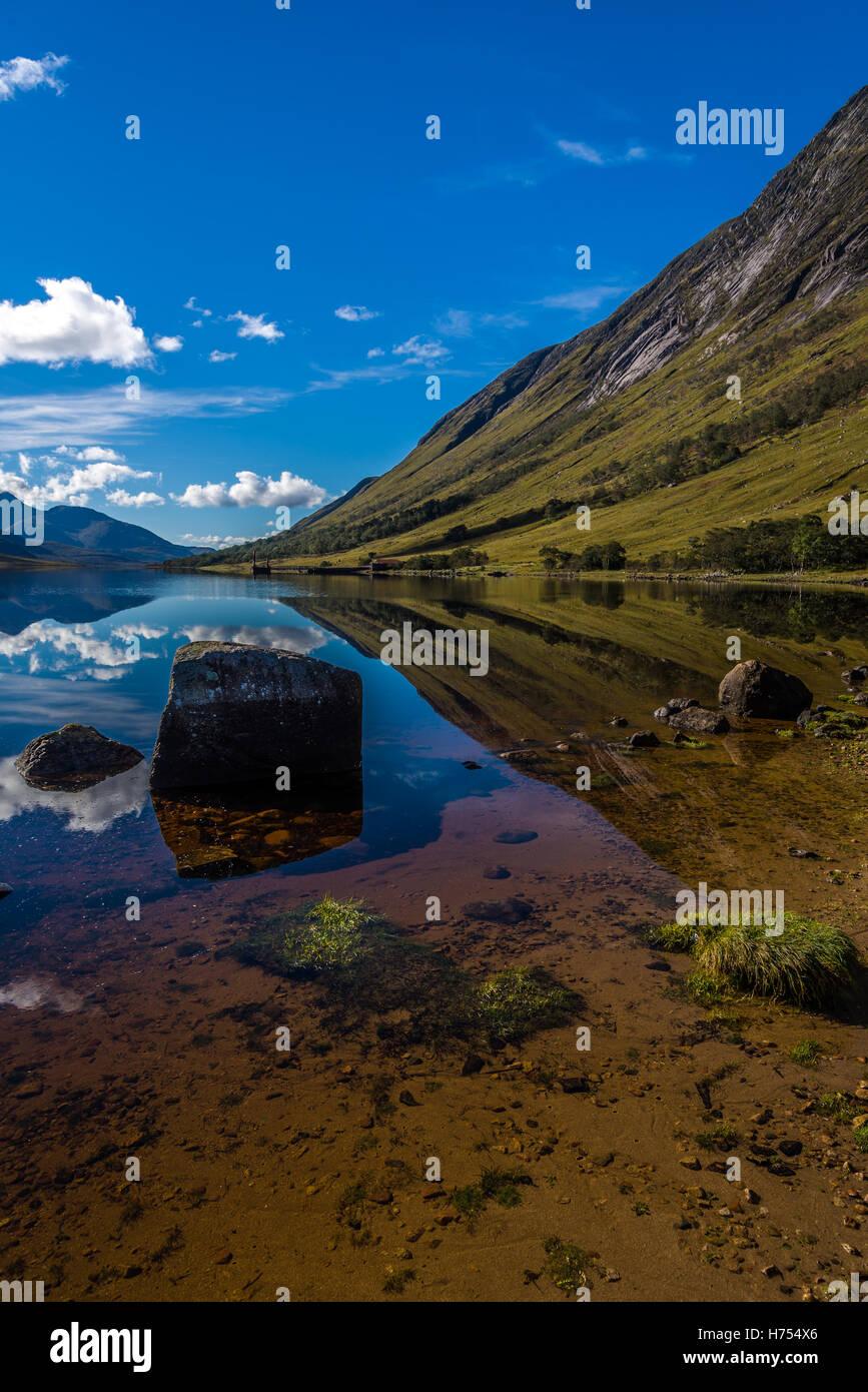 Still water in Loch Etive, Scottish Highlands - Stock Image