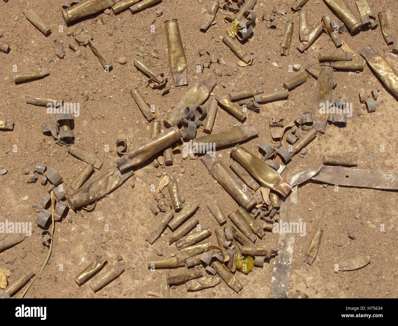 24th July 2003 Spent cartridges on the ground near to the parade ground inside the International (Green) Zone in - Stock Image
