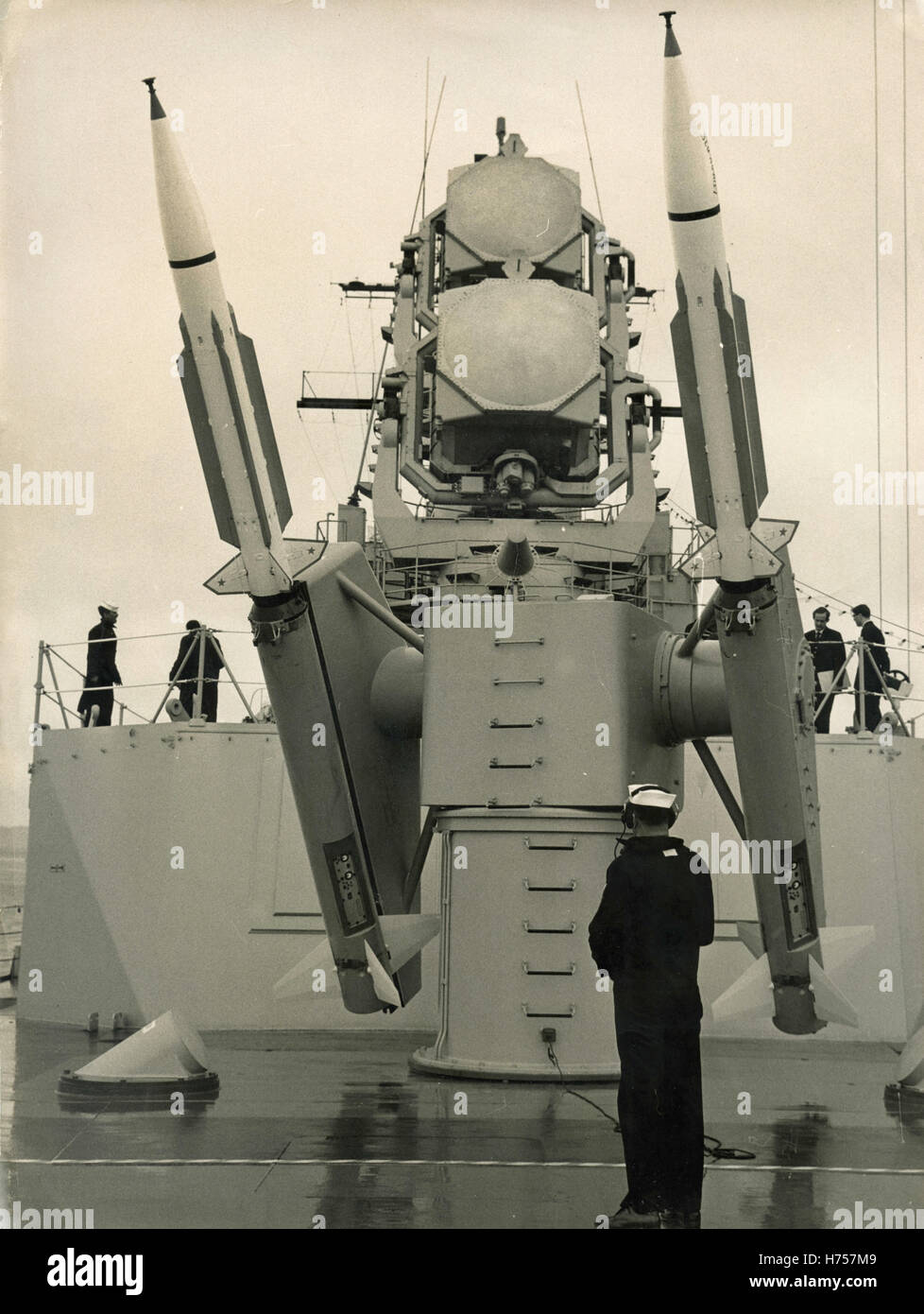 Supersonic anti-aircraft missiles Terrier class aboard the ship Dewey, USA - Stock Image