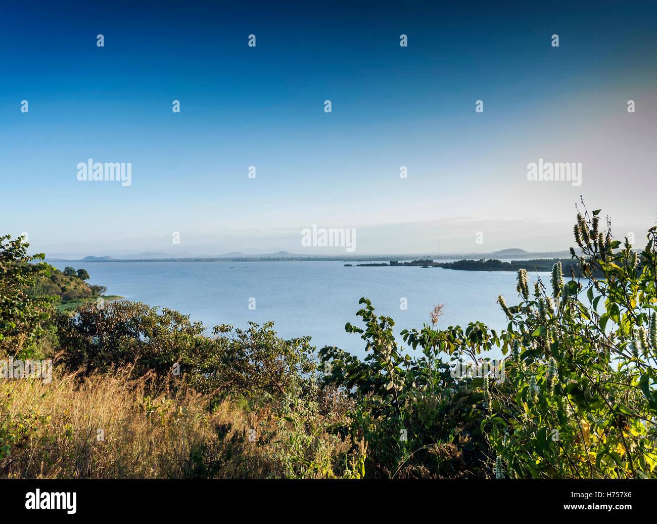 view of famous lake tana near bahir dar ethiopia - Stock Image