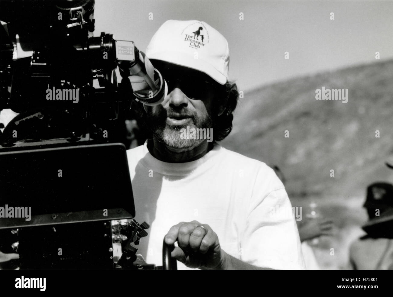 American filmmaker Steven Spielberg during the shooting of the film Jurassic Park, USA 1993 - Stock Image