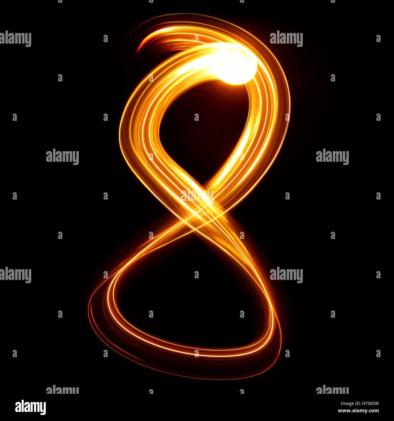 Eight - Pictured by light numbers Stock Photo