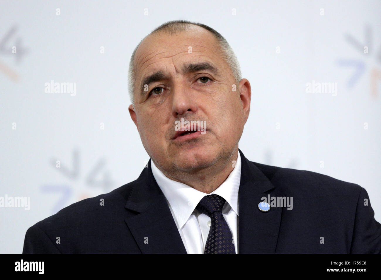 Prague, Czech Republic - February 15, 2016: The Prime Ministers of Bulgaria Boyko Borissov is speaking during a - Stock Image