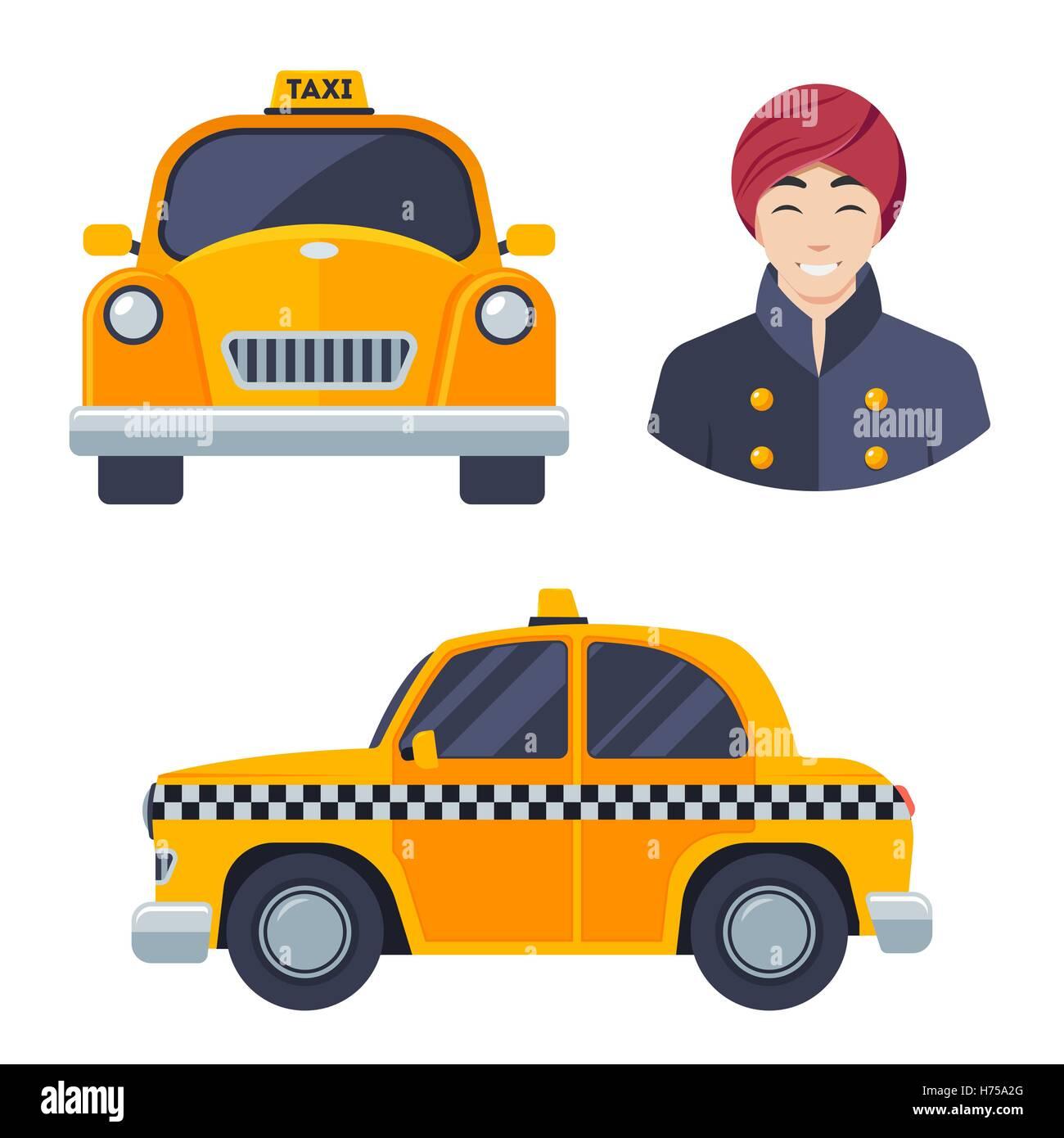 Indian hindu taxi car driver icon set. - Stock Vector