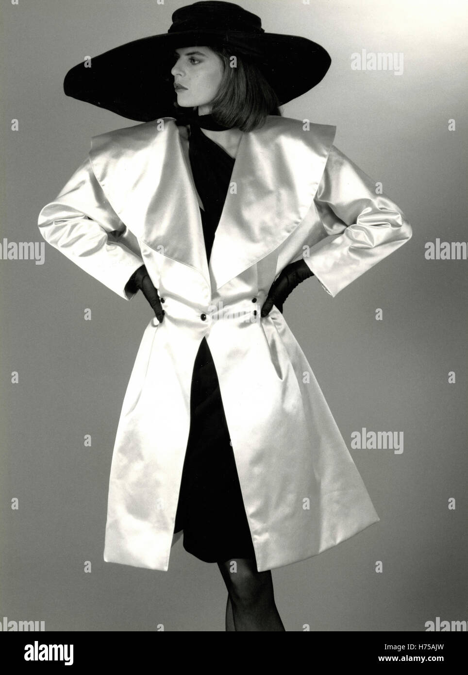 Model wearing a dress by Emanuel Ungaro, Paris, France 1986 - Stock Image