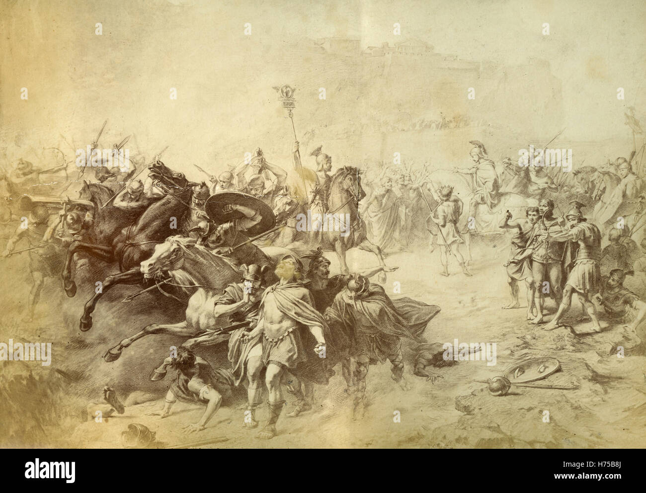 Roman Legion battle, painting by unknown - Stock Image