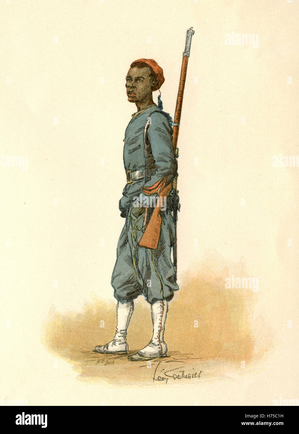 Senegalese Sniper, Illustration for l'Exposition Universelle - Stock Image