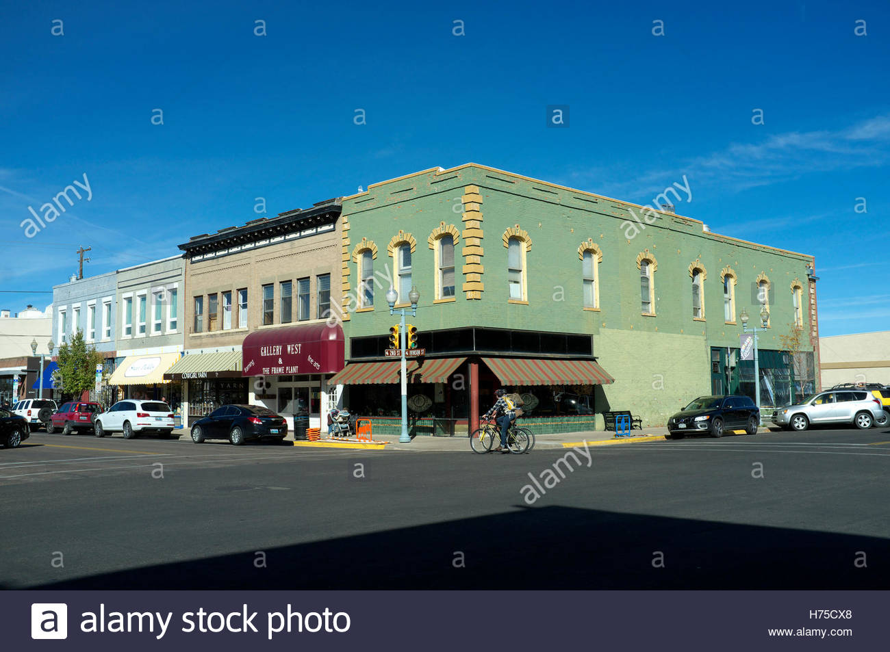 View in the historic downtown area of Laramie, Albany County, in Wyoming, USA. Stock Photo