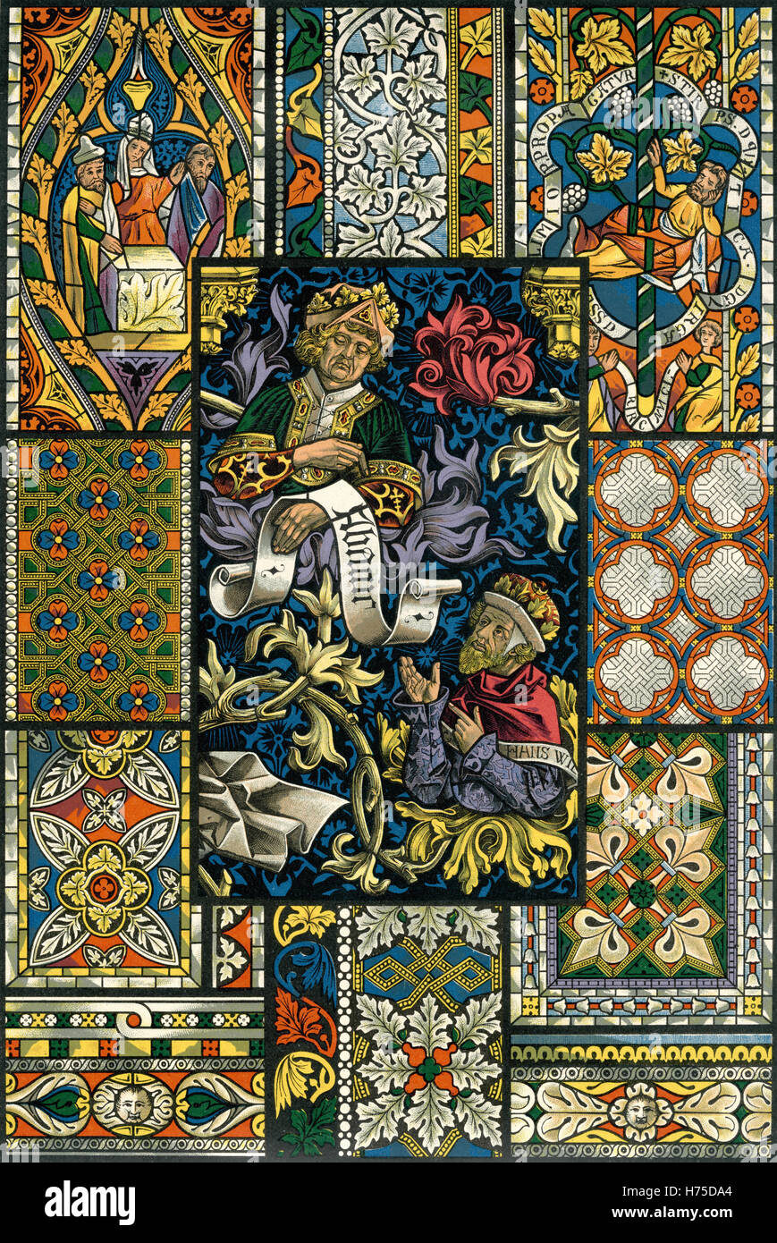 Ornamentenschatz 1887 Painting and sculpture: Gothic - Stock Image
