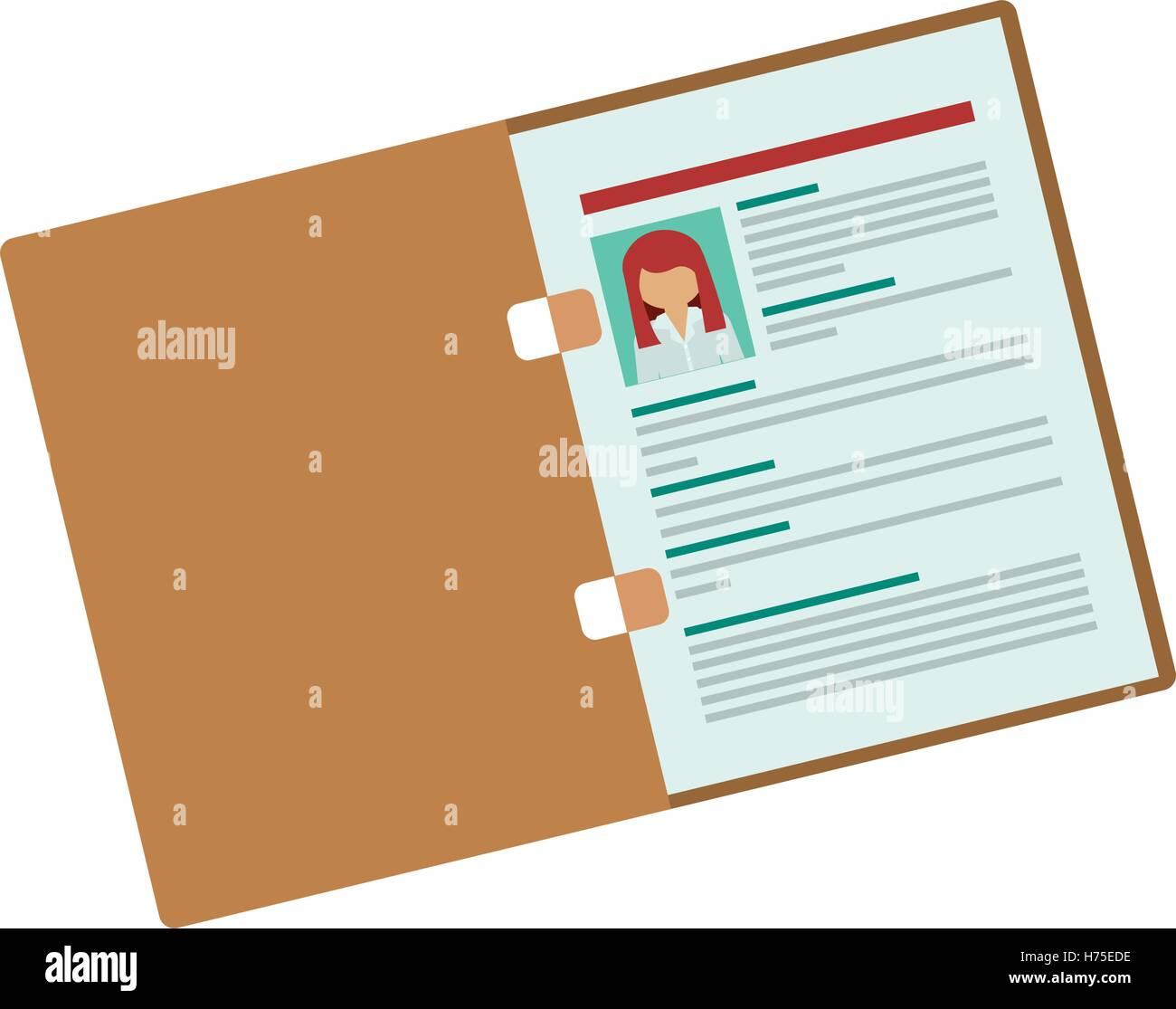 folder with woman curriculum vitae vector illustration
