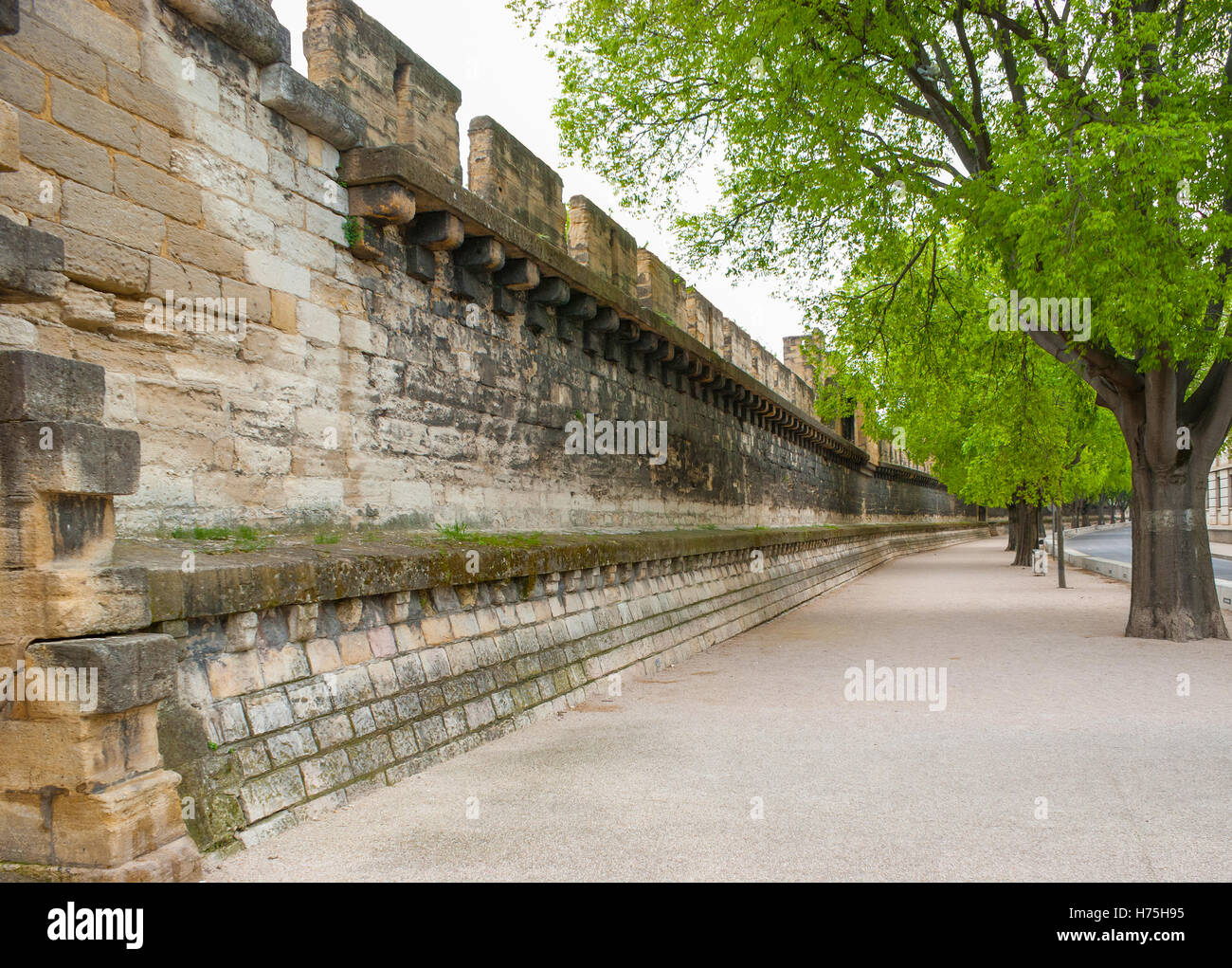 Ramparts still encircle Avignon and they are one of the finest examples of medieval fortification in existence. - Stock Image