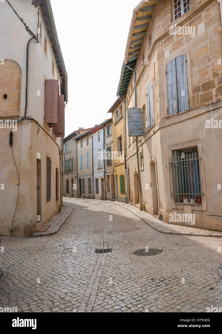 The small medieval towns of southern France are almost empty in the Sunday morning. - Stock Image