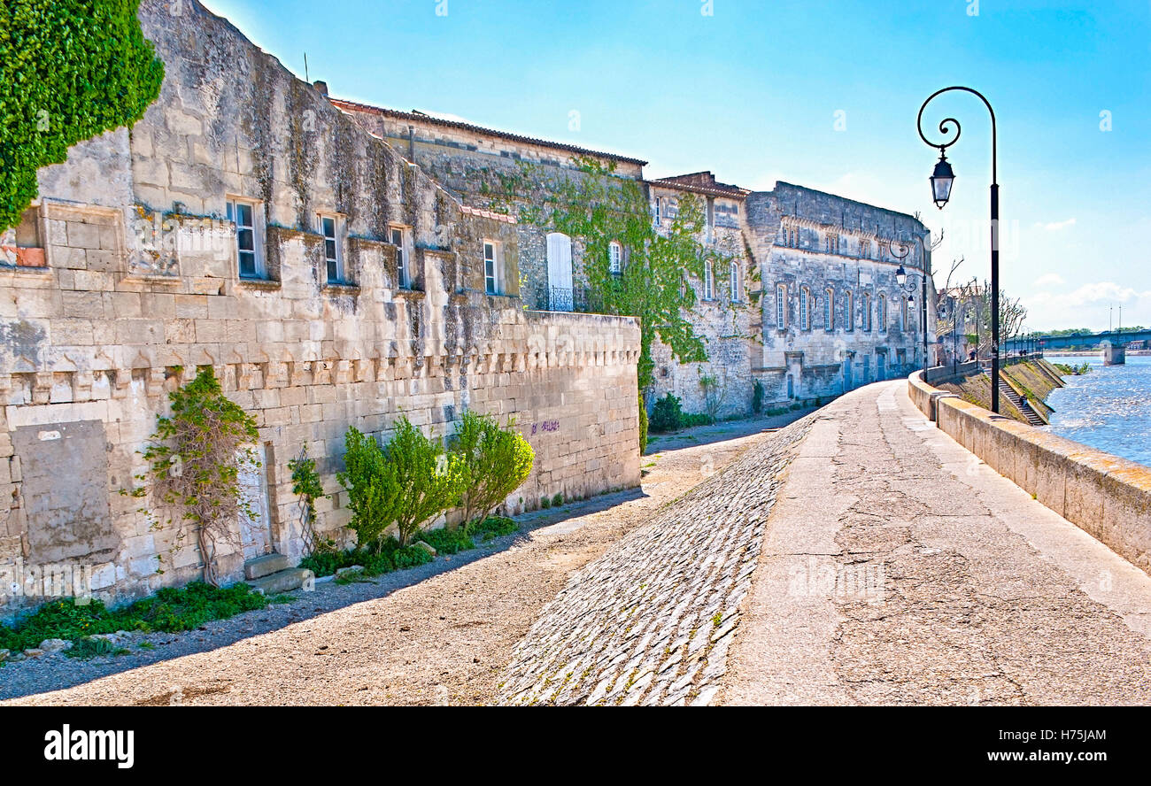 The embankment of arles with the ruins of medieval house. Stock Photo