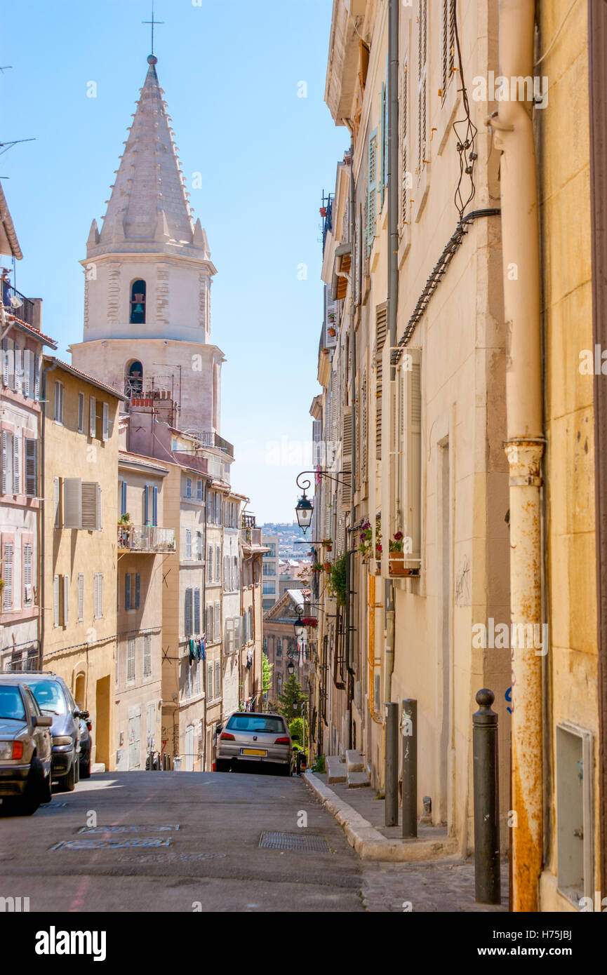 the old streets are full of surprises such as unusual houses, winding turnings and medieval churches, Marseilles, - Stock Image