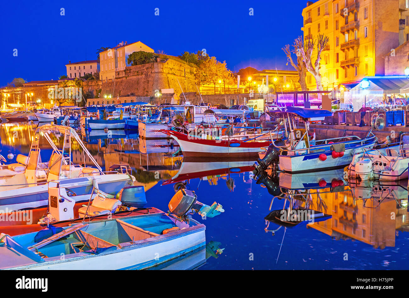 The evening in Ajaccio is the best time to visit port and enjoy dreaming boats and yachts, moored here, Corsica, - Stock Image