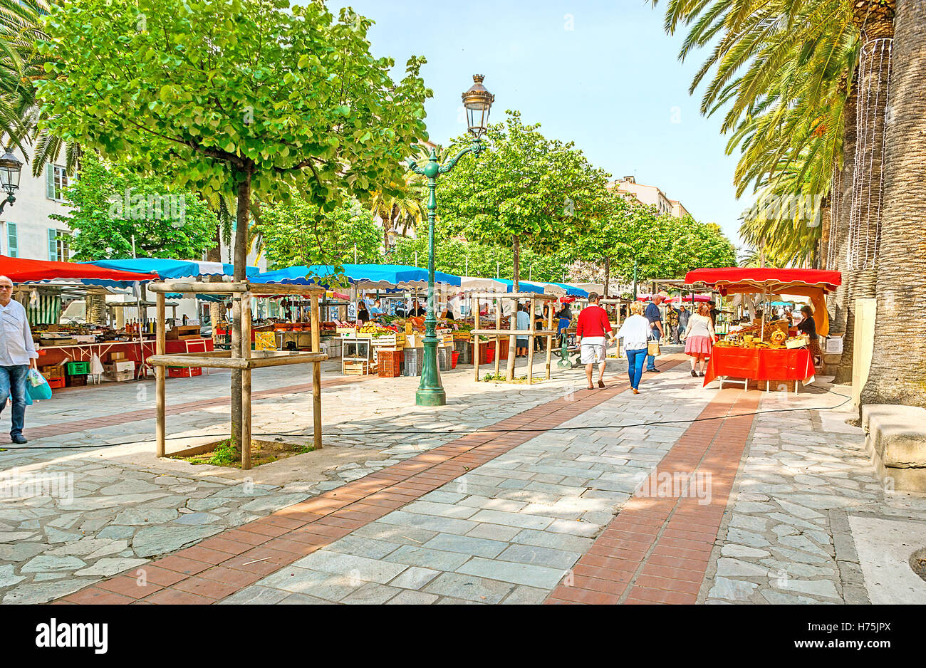 The Place Foch is the central market place with local specialties, home produced cheese, sausages, olives and alcohol - Stock Image