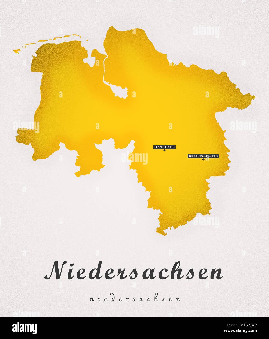 Niedersachen Germany DE Art Map - Stock Image