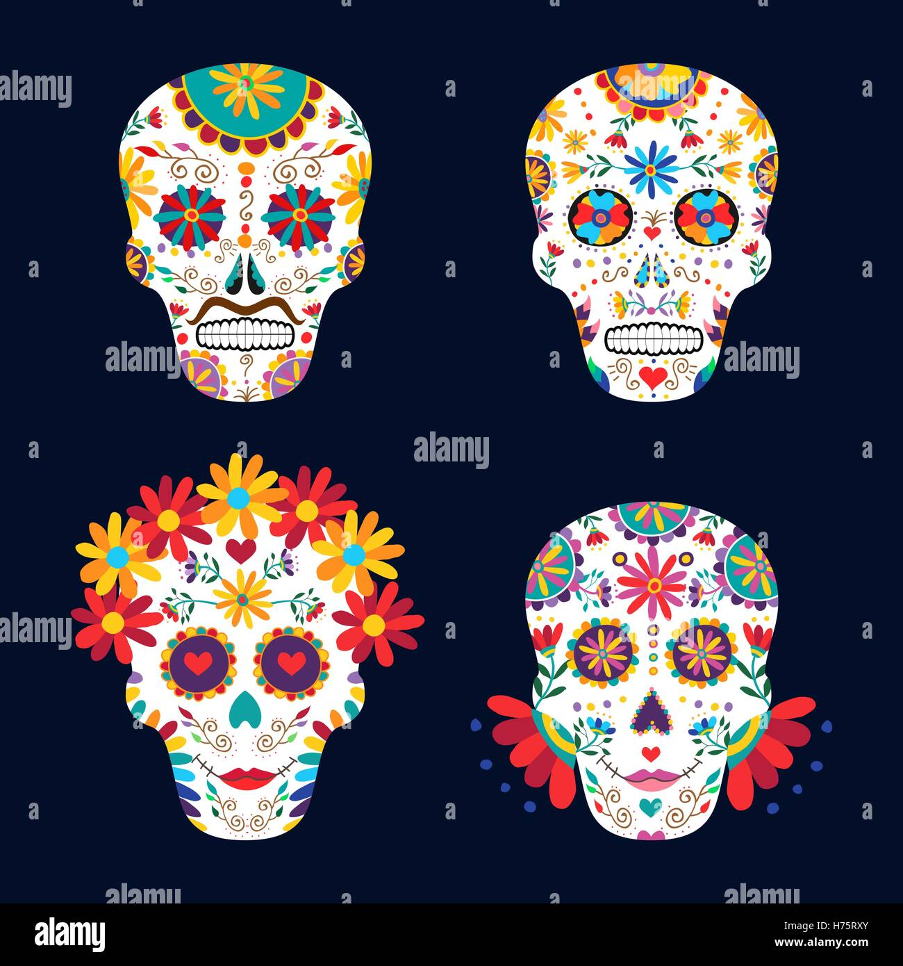 Skull Set For Day Of The Dead Celebration Traditional Mexican Decoration With Flowers And Colorful Art EPS10 Vector