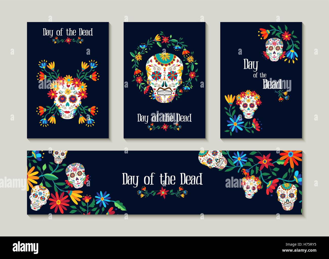 Day of the dead template set for greeting card label or tag stock day of the dead template set for greeting card label or tag traditional mexican decoration with colorful art and flowers eps1 m4hsunfo