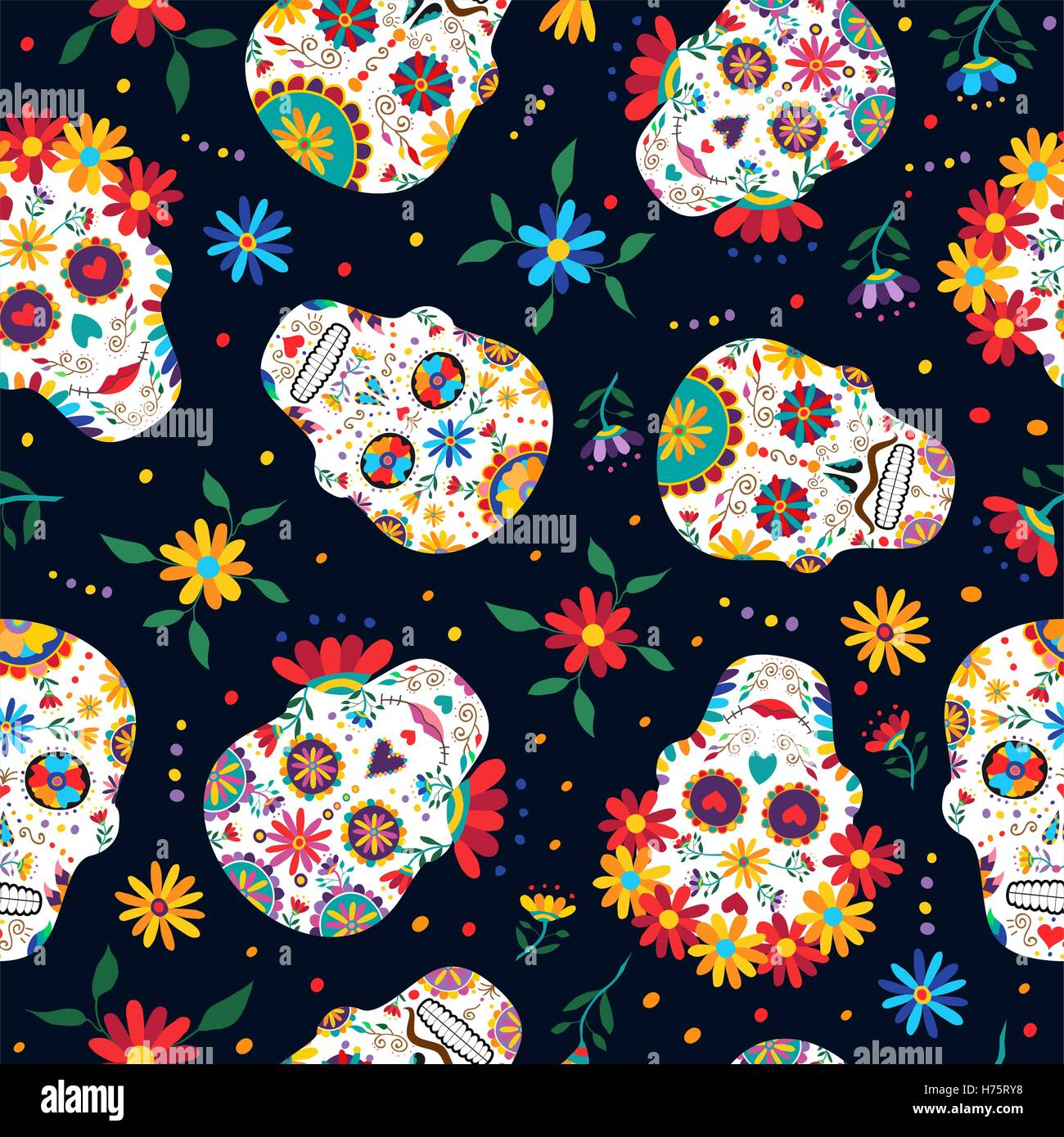 day of the dead seamless pattern with traditional mexican sugar